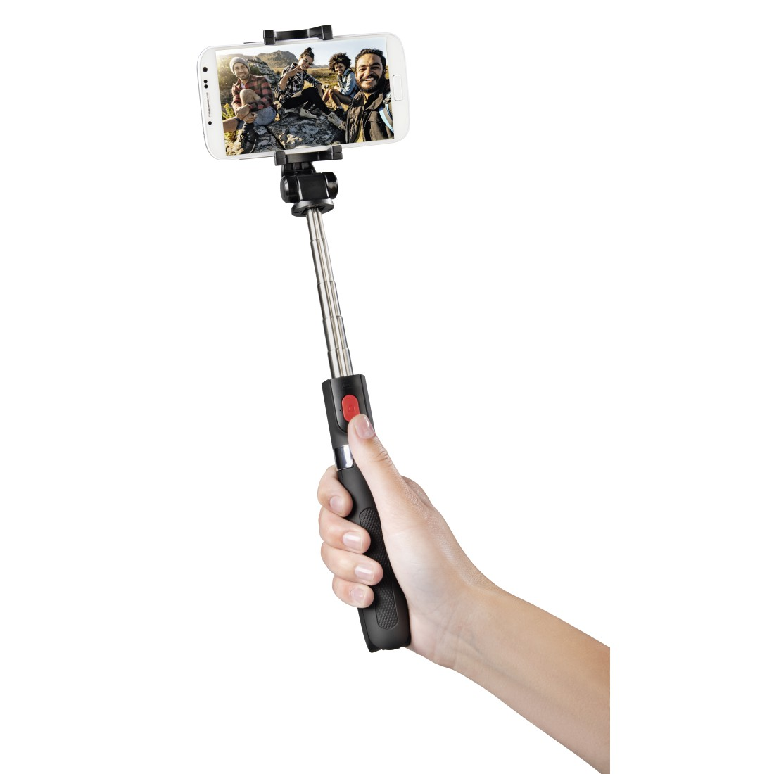"awx High-Res Appliance - Hama, Selfie-stick ""Funstand 57"", met Bluetooth-ontspanner, zwart"