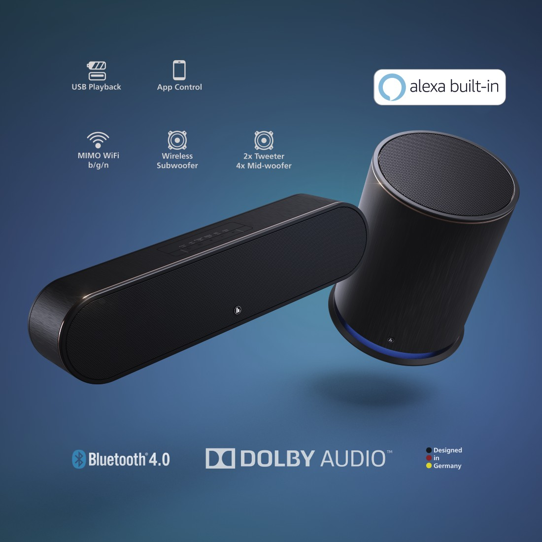 "dex5 High-Res Detail 5 - Hama, Smart-slim-soundbar 2.1 ""SIRIUM3800ABT"" wireless subwoofer/Alexa/Bluetooth®"