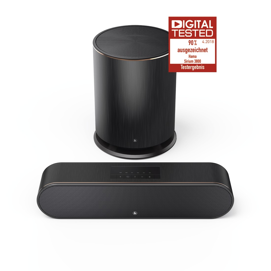 "uax Druckfähige Abbildung Logo - Hama, Smart-slim-soundbar 2.1 ""SIRIUM3800ABT"" wireless subwoofer/Alexa/Bluetooth®"