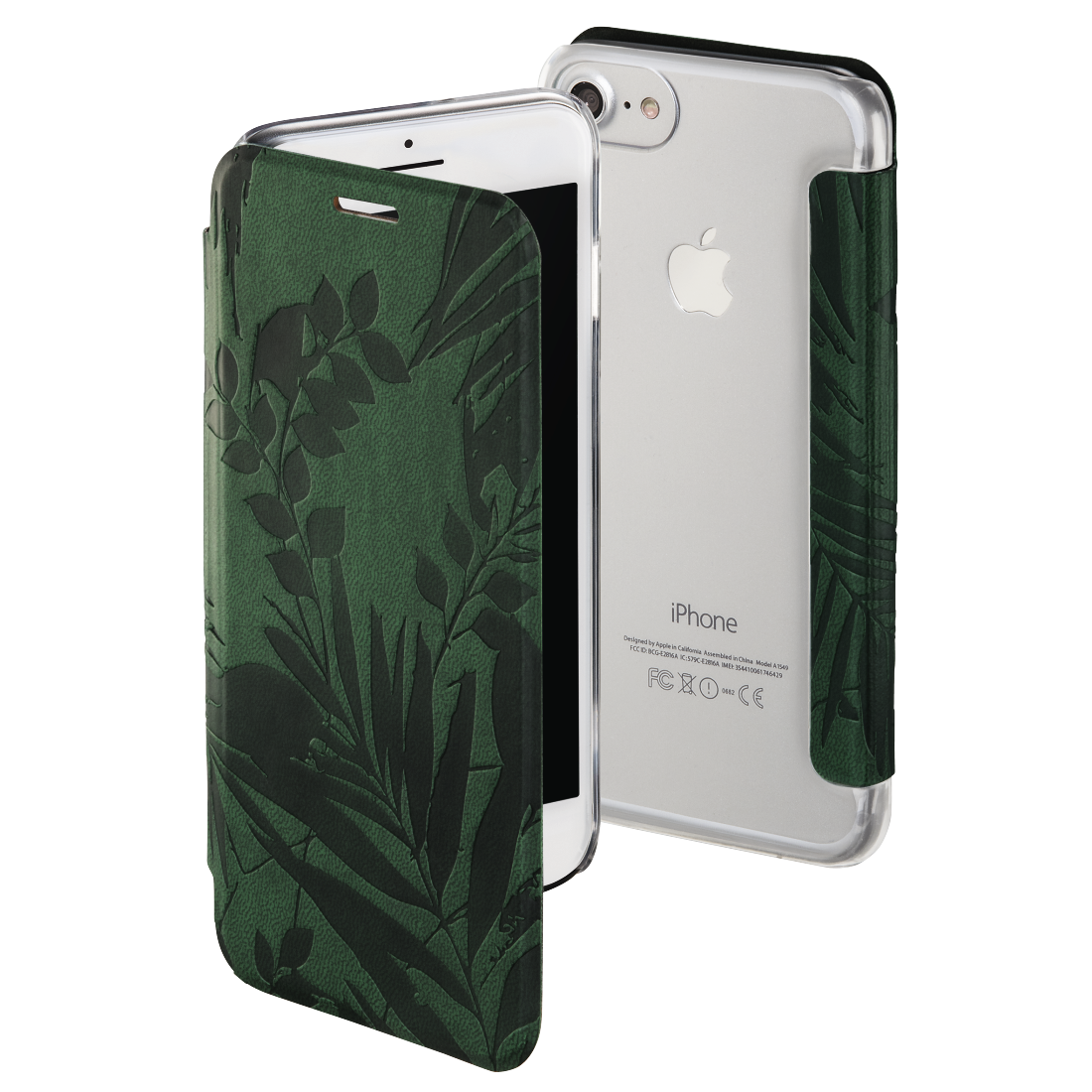 "abx High-Res Image - Hama, Booklet ""Jungle Leaves"" voor Apple iPhone 6/6s/7/8, donkergroen"