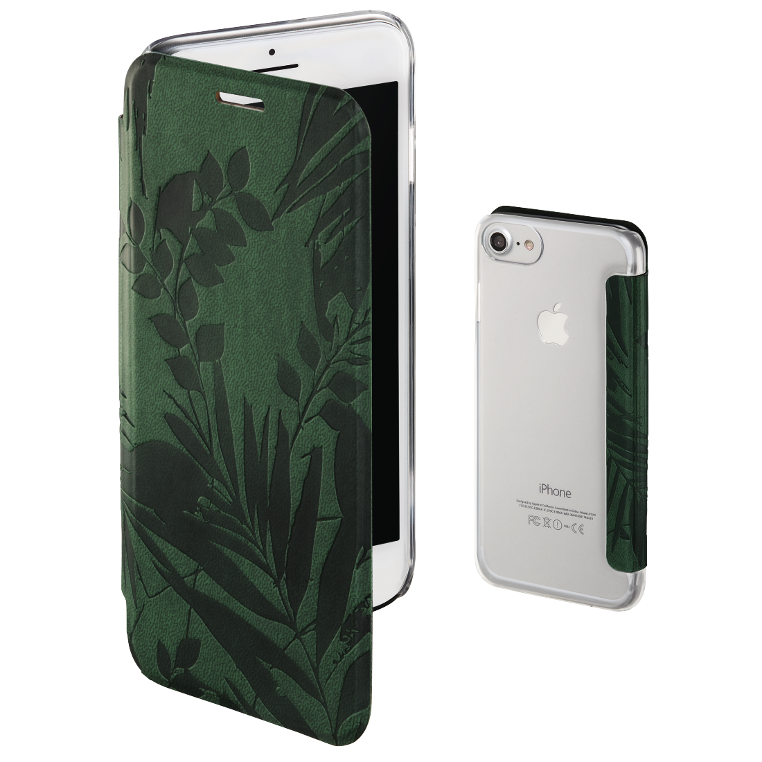 "abx4 High-Res Image4 - Hama, Booklet ""Jungle Leaves"" voor Apple iPhone 6/6s/7/8, donkergroen"