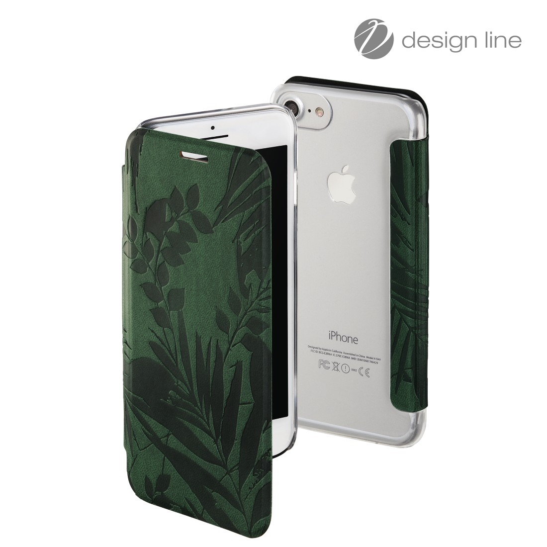 "uax Druckfähige Abbildung Logo - Hama, Booklet ""Jungle Leaves"" voor Apple iPhone 6/6s/7/8, donkergroen"