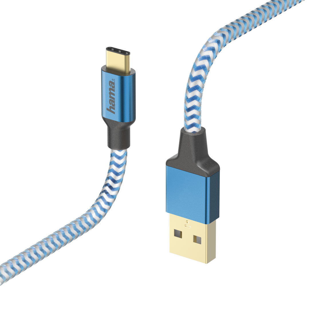 "abx High-Res Image - Hama, Oplaad-/sync-kabel ""Reflective"", USB Type-C - USB-A, 1,5 m, blauw"