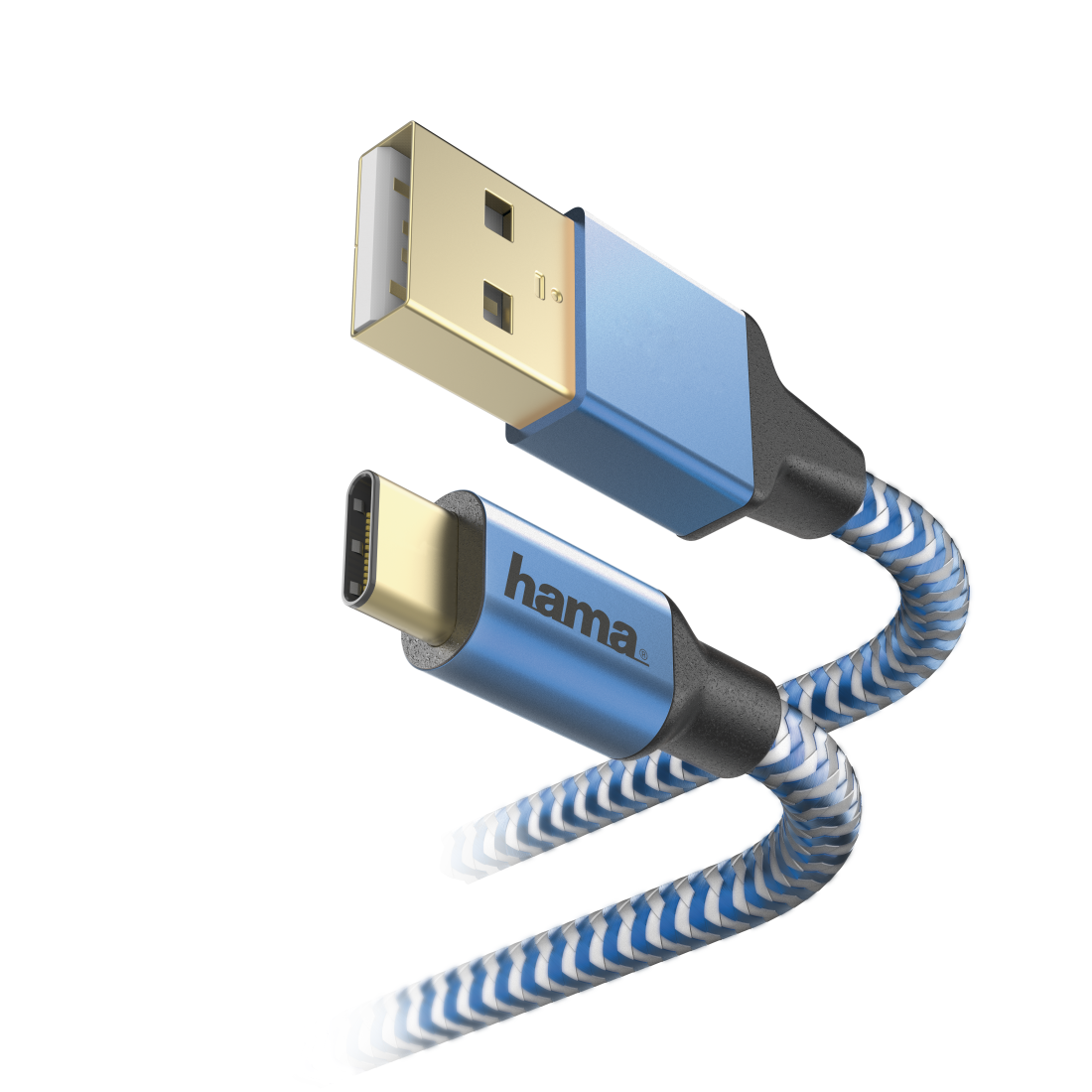 "abx2 High-Res Image 2 - Hama, Oplaad-/sync-kabel ""Reflective"", USB Type-C - USB-A, 1,5 m, blauw"